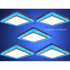 Shop bán Bộ 5 đèn led nổi ốp trần 24w vuông 2 màu 3 chế độ ánh sáng trắng  xanh dương giá rẻ 790.000₫