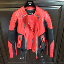 balmain x hm red leather jacket cairoamani com