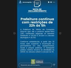 Prefeitura de Vitória da Conquista decide não ampliar toque de recolher e  governador afirma: 'Decreto será cumprido' | Bahia
