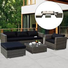 costway 6 piece patio rattan wicker furniture set sectional sofa couch w 2 set
