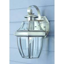 brushed nickel exterior lights one light brushed nickel small outdoor wall lantern with beveled glass brushed