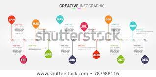Year Timeline Timeline 12 Months 1 Year Timeline Stock Vector Royalty Free
