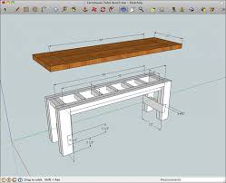 Farm Table Plans Farmhouse Bench Sketchup Model Of The Rustic Farmhouse Table