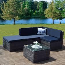 table rattan furniture in dark grey faro 5 piece modular in new dark mixed grey