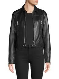 women s bec belted leather biker jacket black size large lyst view fullscreen