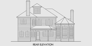 house front drawing elevation view for 9946 brick house plans curved stair case attic