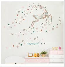 whole snowflakes and deer wall stickers decal diy decoration wall stickers for living room children s room and windows cool wall decals