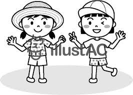 夏の子供女の子モノクロイラスト No 457186無料イラストなら