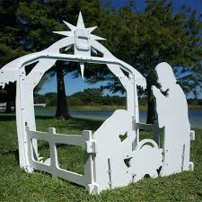 holy night outdoor nativity set large back view figures costco 9 piece