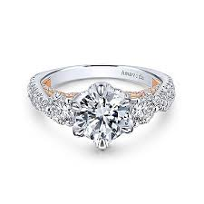 gianni 18k white and rose gold round 3 stones enement ring
