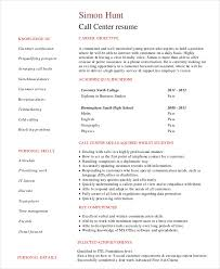 Call Center Resume Template for Students