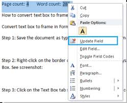 how to insert word count or page count in word   select the word count number and page count number and right click it to select update field to update the word count or page count automatically