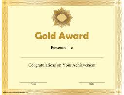 Certificates Printable Gold Award Certificate Printable Certificate