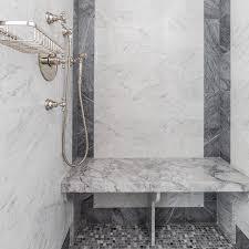 grey mosaic marble shower floor tiles