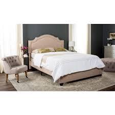 Full Upholstered Bed Frame Safavieh Theron Light Beige Full Upholstered Bed Fox6211b F The