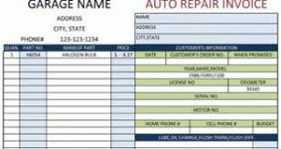 garage invoice template simple auto repair work order