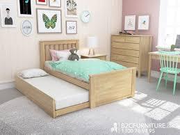 Natural kids single trundle bed modern minimalist design B2C