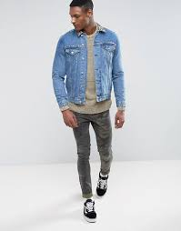 asos asos tall denim jacket with leopard print collar and stud detail men blue