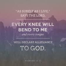 romans 14 11 for it is written as i live saith the lord every knee shall bow to me and every tongue shall confess to king james version kjv