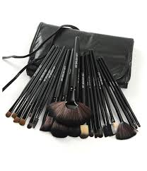 full makeup brush set. 24 piece jet black make up brush set with free case default title, full makeup