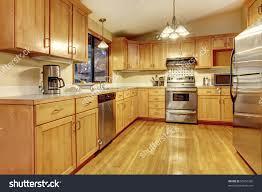 American Kitchen Cabinets Kitchen Golden Wood Cabinets Hardwood Floor Stock Photo 95951332