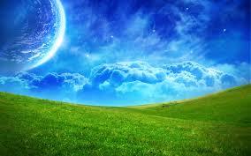 blue sky and green grass Mix Wallpaper
