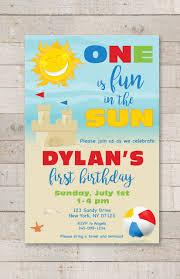 Beach Invitation 1st Birthday Party Invitations One Is Fun In The Sun Invitations Beach Invitations Pool Party Invites Sunshine Sandcastle Set Of 10