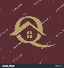 Q letter roof shape flat gold logo
