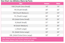 Ion Warm Up Pants Size Chart Crystallized Couture