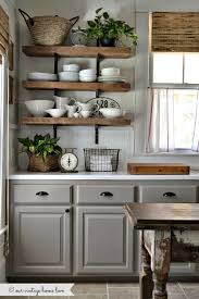 gray cabinets rustic open shelves looks great together