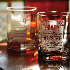 personalized whiskey label whiskey glasses set of 2
