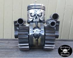 garage art. skull piston from morganu0027s garage art