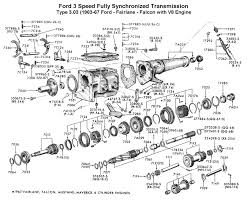 flathead parts drawings transmissions three speed std trans for 1963 67 ford v8 type 303
