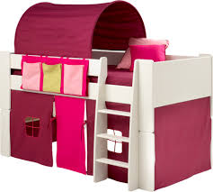 Childrens Pink and purple midsleeper cabin bed with tunnel, tent and pocket  package