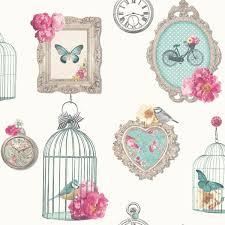vintage birdcage wallpaper. Modren Birdcage ARTHOUSEMADELINEFRAMESSHABBYCHICWALLPAPERBIRDCAGE Throughout Vintage Birdcage Wallpaper B