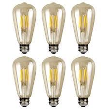 6 Pack Vintage Edison Led Bulbs E27 St64 4w Filament Bulb Screw Edison Led Light Bulb Energy Saving Led Bulbs Warm White 2700k