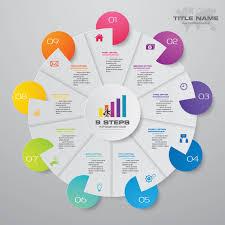 Modern Pie Chart 9 Steps Modern Pie Chart Infographics Elements Vector