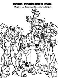 Autobots Conquers Decepticons In Transformers Coloring Page