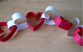 Valentines Day paper heart chain decoration - YouTube