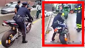 lady police officer impounded a bike and awesome fail