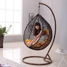 Japanese Zen Like Black Rattan Indoor Hanging Chair