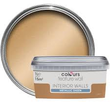 Colours Feature Wall Gold Effect Metallic Emulsion Paint 1L | Departments |  DIY at B&Q.
