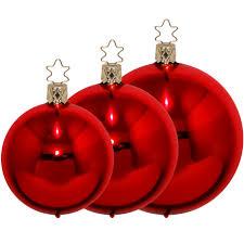 Christbaumkugeln Rot Glänzend ø 4cm ø 12cm Inge Glas Manufaktur Weihnachtskugeln