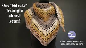 Caron Cakes Yarn Patterns Free Classy One Big Cake Triangle Shawl Scarf Free Crochet Pattern YouTube