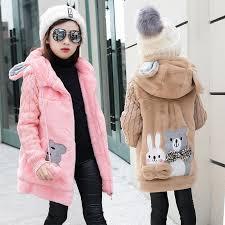 girl s winter imitation fur coat 2017 girls faux fur coat children baby clothes kid thick plus velvet coat whole coats for little girls kids designer