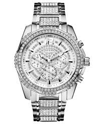guess men s chronograph crystal accent stainless steel bracelet guess men s chronograph crystal accent stainless steel bracelet watch 47mm u0291g1
