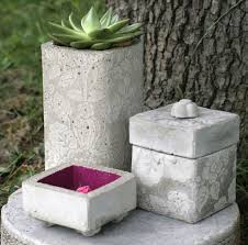 diy concrete decorations outdoor planters containers