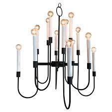 modernist 16 bulb candelabra chandelier by lightolier in black enamel 1960s