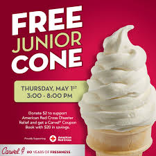 carvel free junior ice cream cone or cup may 1st 3 8pm
