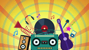 Colorful Animation Of Music Instruments And Stuff Over Sunburst
